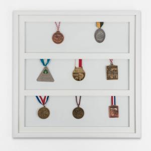 Medaljeramme 50x50 cm, hvid