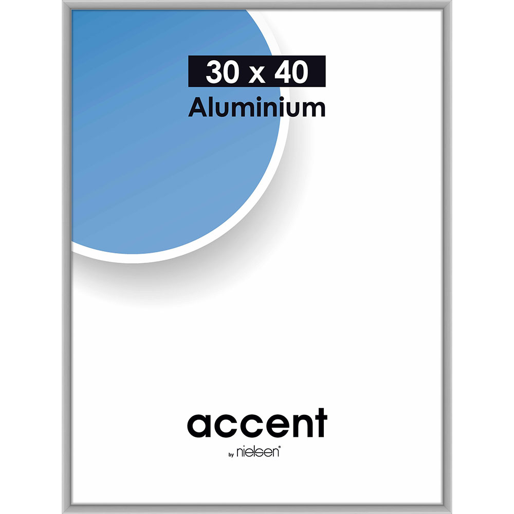 Aluramme Accent 30x40 cm | Sølv mat | standardglas
