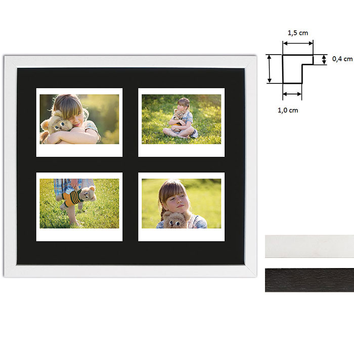 Billedramme til 4 polaroidbilleder - Type Instax Wide