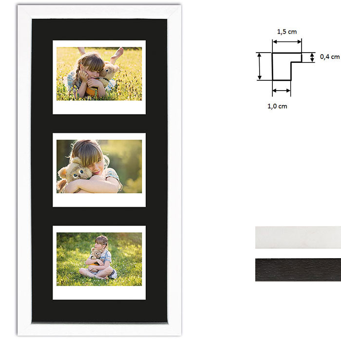 Billedramme til 3 polaroidbilleder - Type Instax Wide