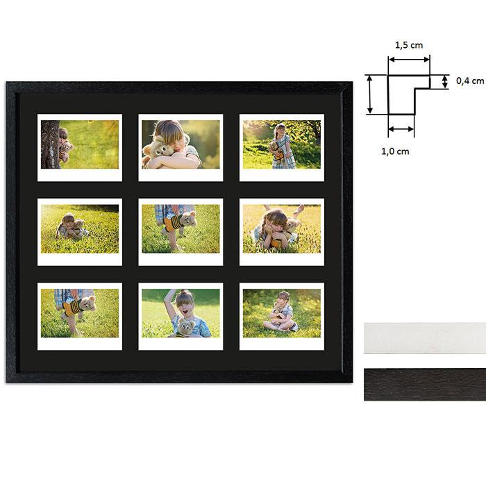 Billedramme til 9 polaroidbilleder - Type Instax Wide
