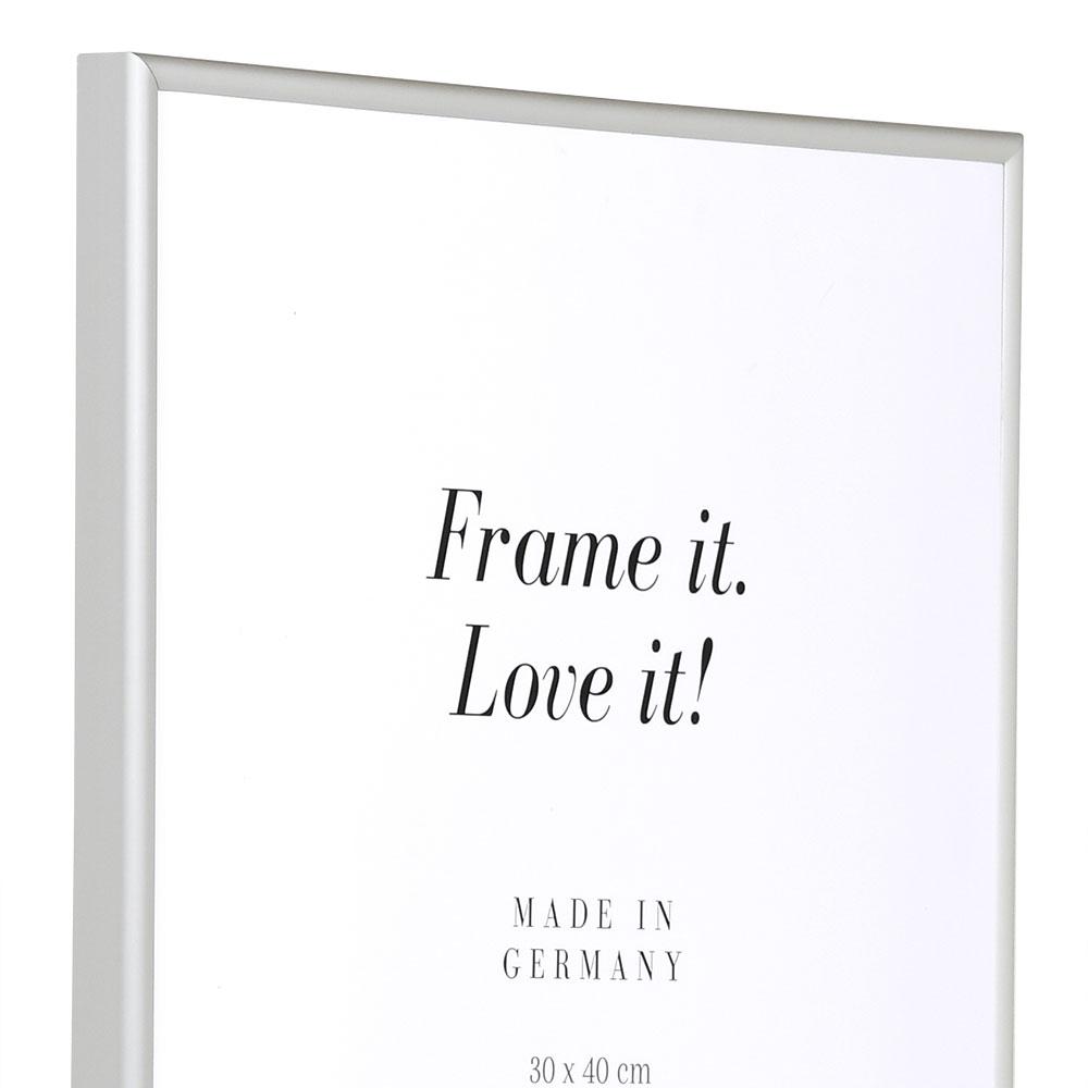 Aluramme Econ rund 20x30 cm | Sølv mat | standardglas