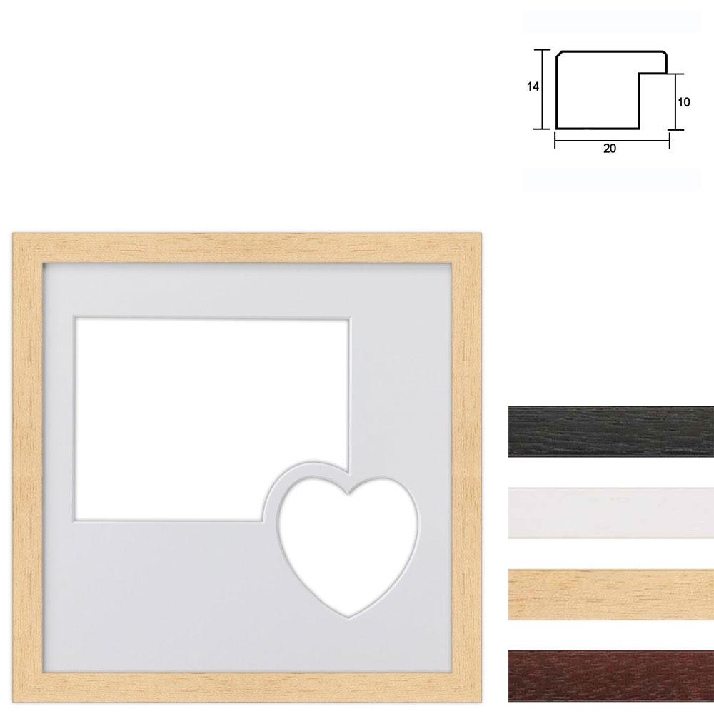 Galleriramme 30x30 cm til 2 fotos med et hjerte
