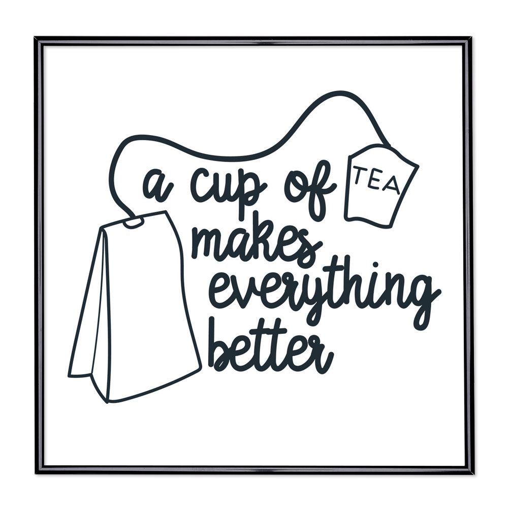 Billedramme med ordsprog - Cup Of Tea Makes Everything Better