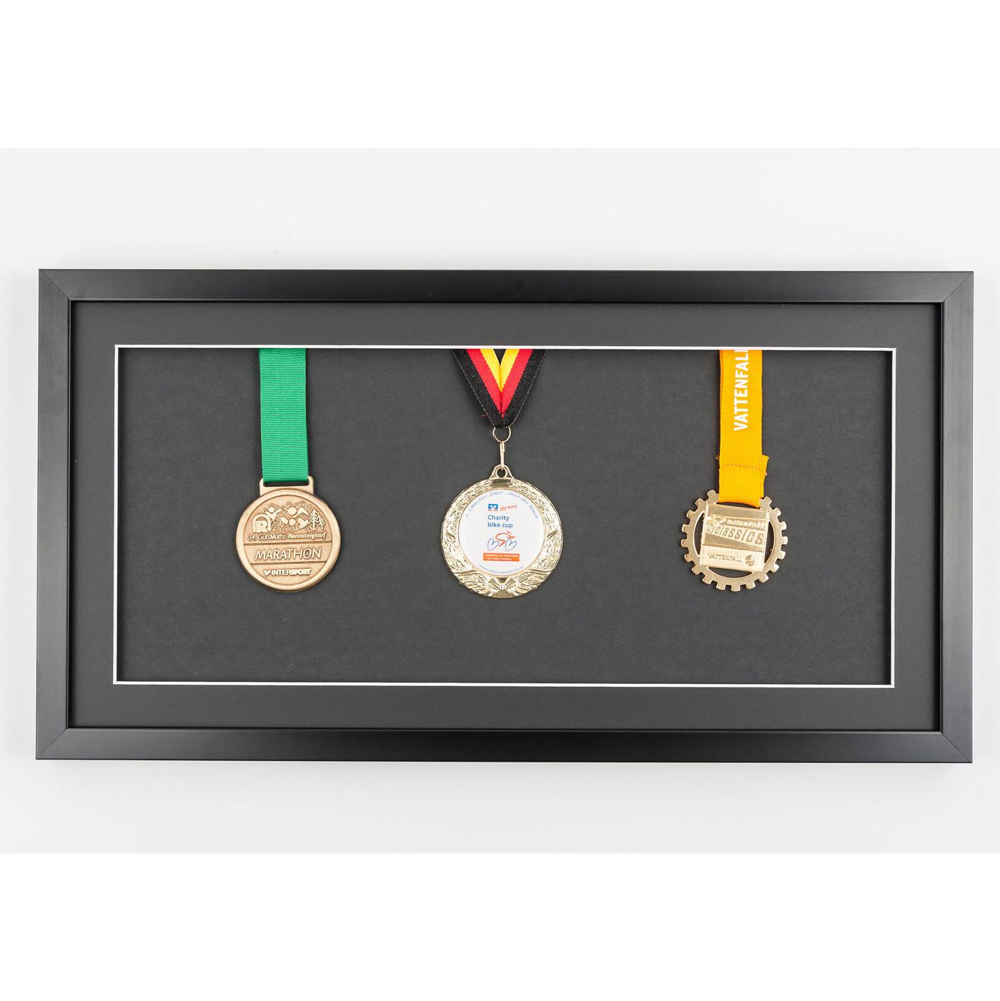 Medaljeramme 25x50 cm, sort