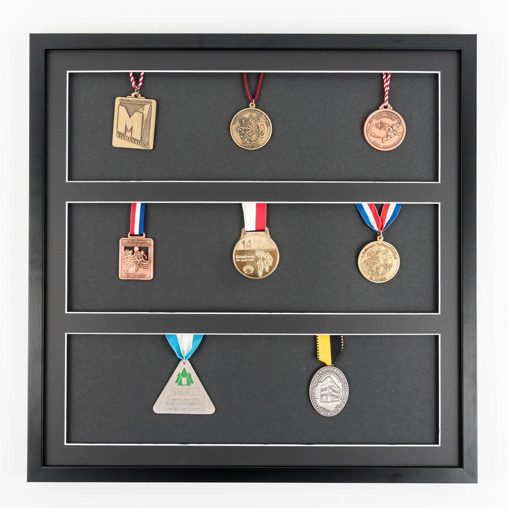 Medaljeramme 50x50 cm, sort
