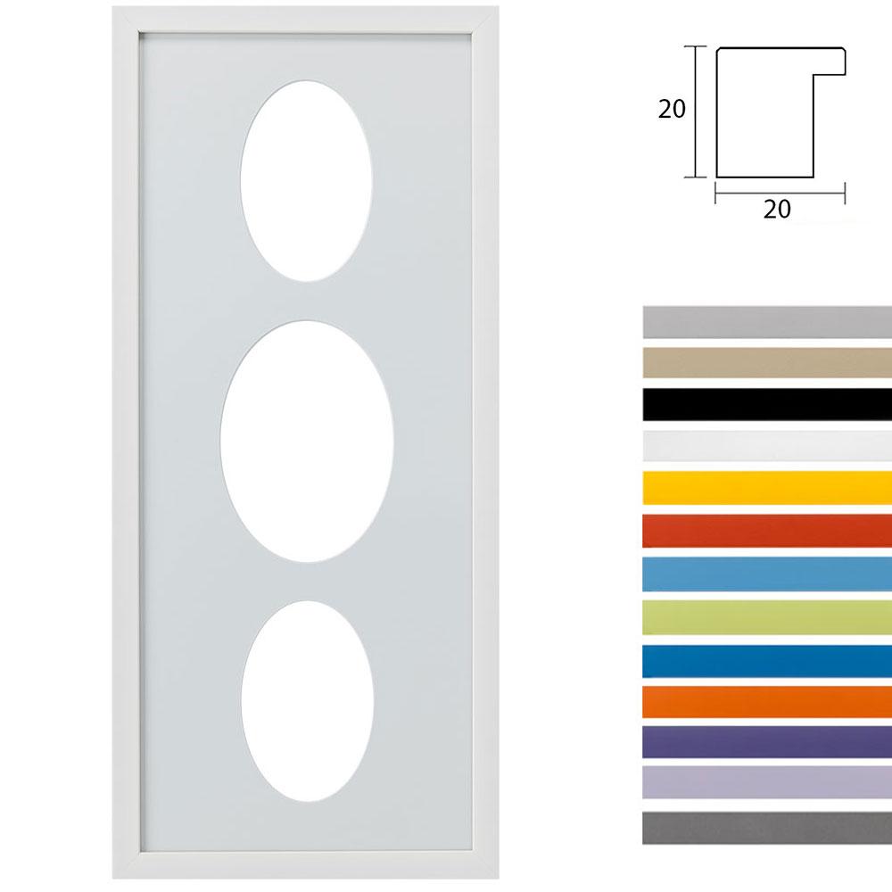 Galleriramme Top Cube 25x60 cm til 3 fotos med oval udskæring