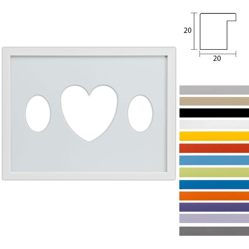 Galleriramme Top Cube 30x40 cm til 3 fotos med oval udskæring