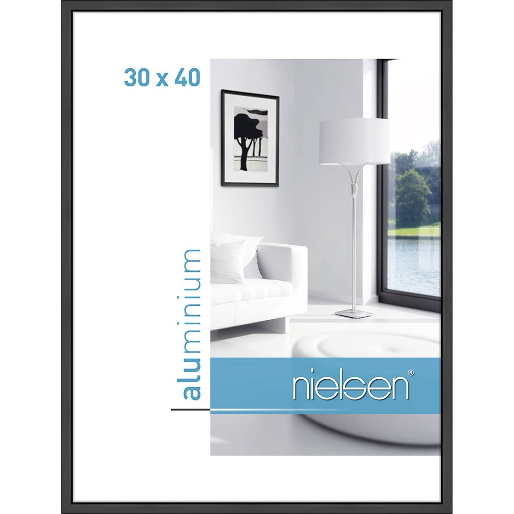 Aluramme Classic 30x40 cm | Sort mat | standardglas