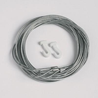 50 stk. Stålkabler 1,3 mm/200 cm med løkke til glidekrog (max. vægt 7 kg)