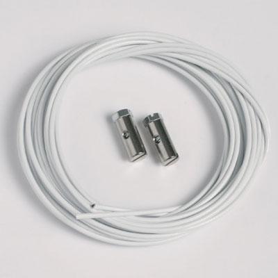 2 stk. stålkabler hvide 1,5 mm/200 cm med skrueglider