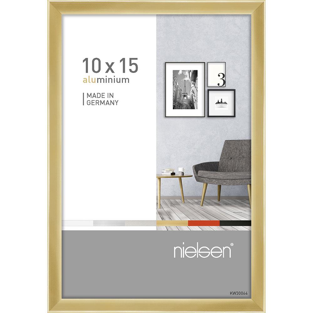 Aluramme Pixel 10x15 cm | Guld blank | Normalglas