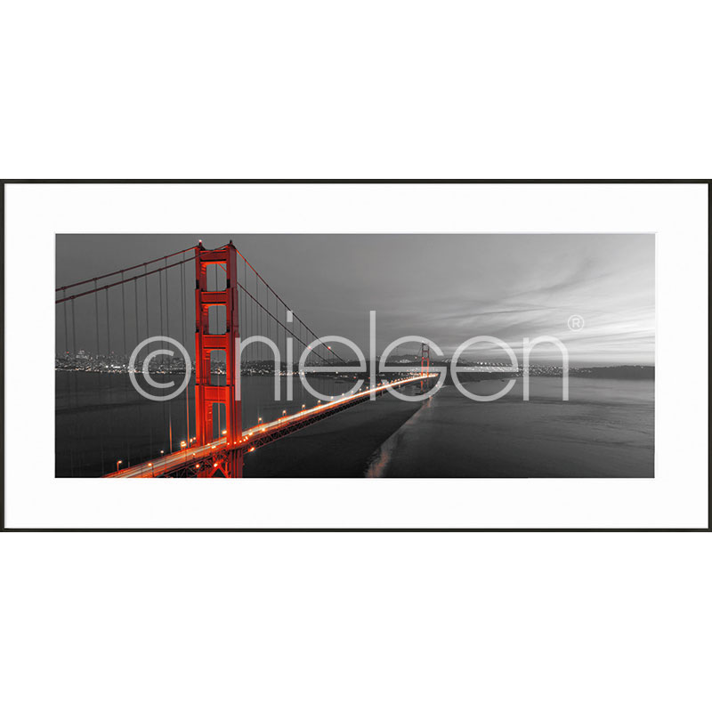 "Indrammet billede ""Golden Gate Bridge"" med aluramme C2"