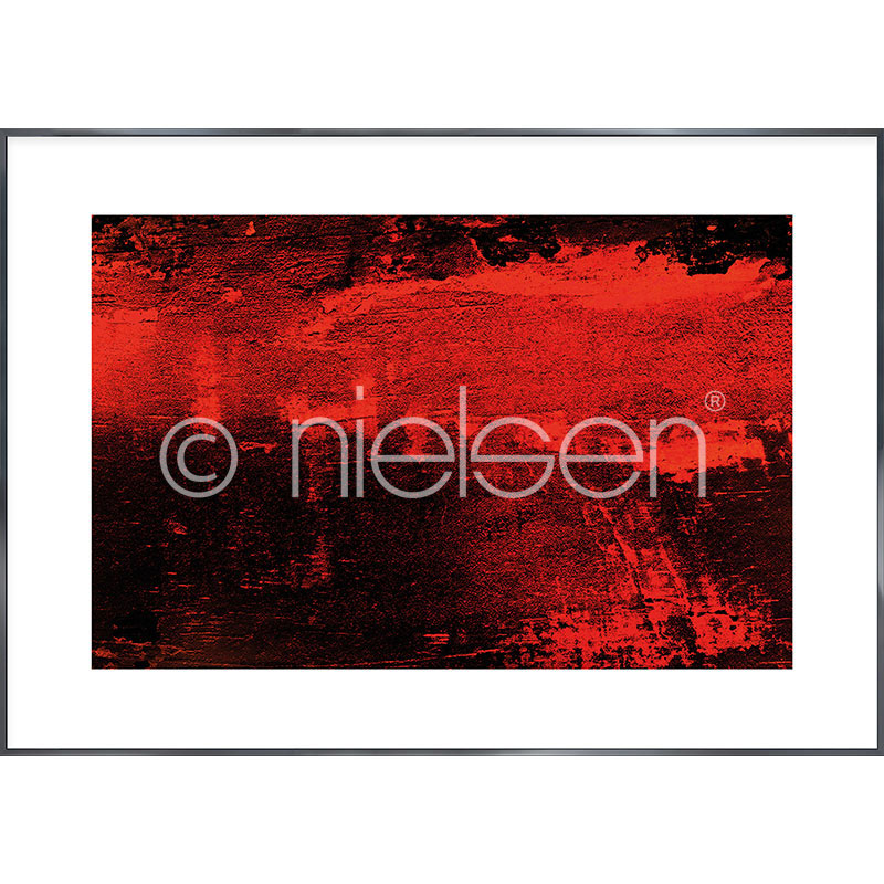 """Indrammet billede """"Abstract red I"""" med aluramme Alpha"""