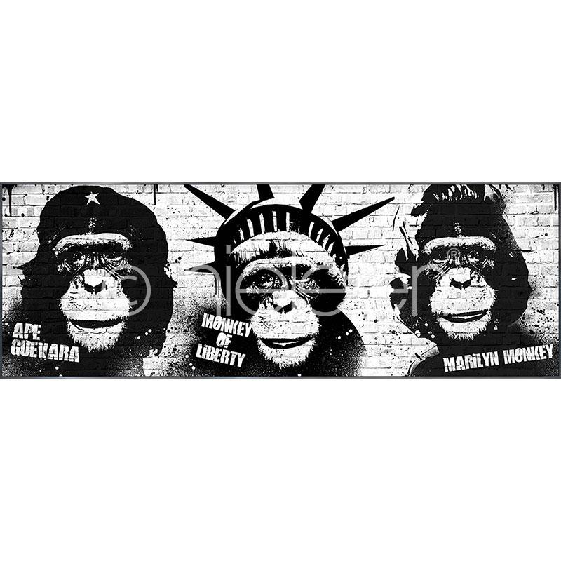 """Indrammet billede """"Monkeys"""" med aluramme Alpha"""