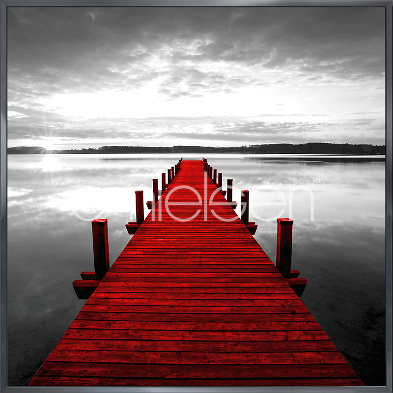 """Indrammet billede """"Footbridge red"""" med aluramme Alpha"""