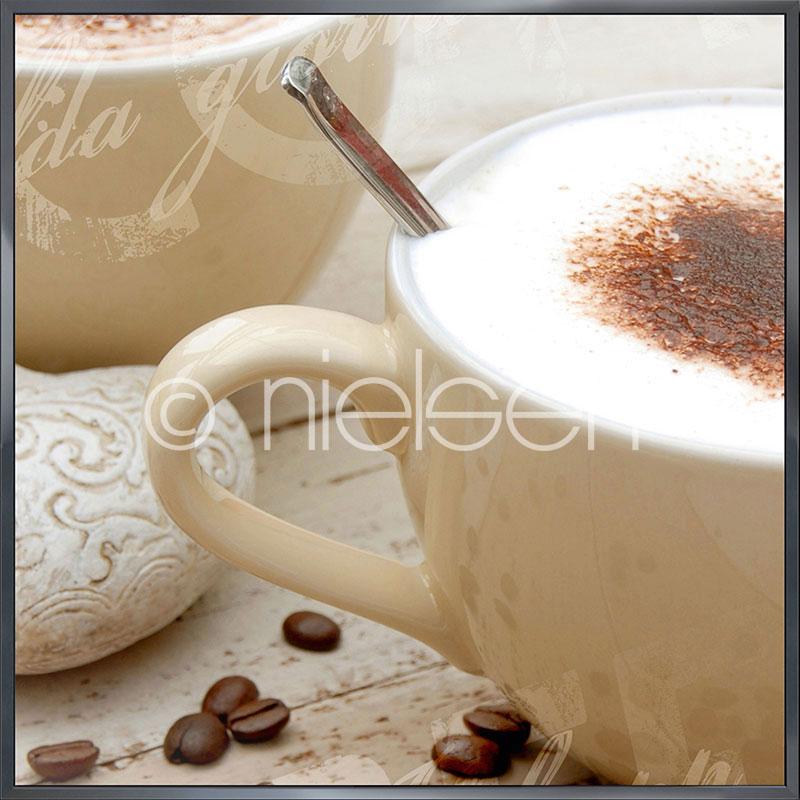 """Indrammet billede """"Coffee I"""" med aluramme Alpha"""