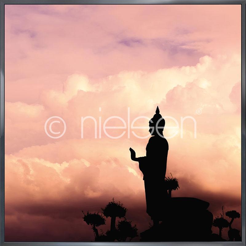 "Indrammet billede ""Buddha"" med aluramme Alpha"