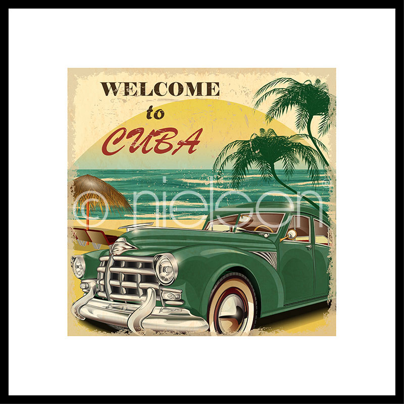 "Indrammet billede ""Welcome to Cuba"" med aluramme C2"