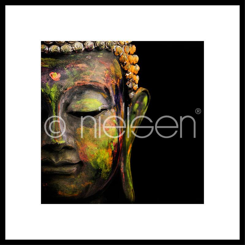 "Indrammet billede ""Buddha head"" med aluramme C2"