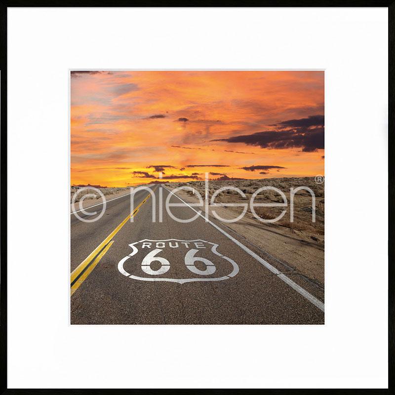 """Indrammet billede """"Route 66"""" med aluramme C2"""