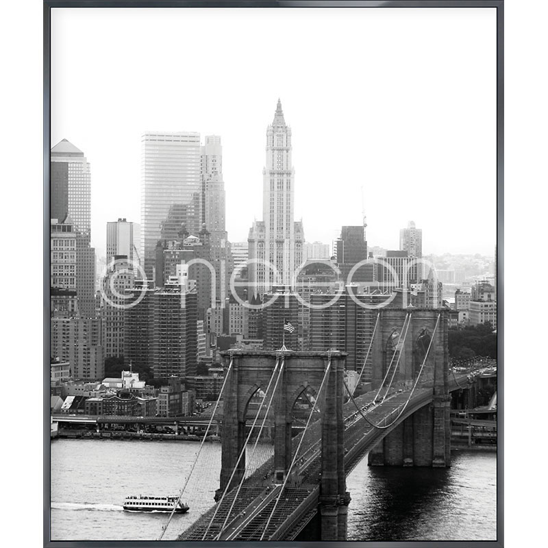 "Indrammet billede ""Brooklyn Bridge"" med aluramme Alpha"