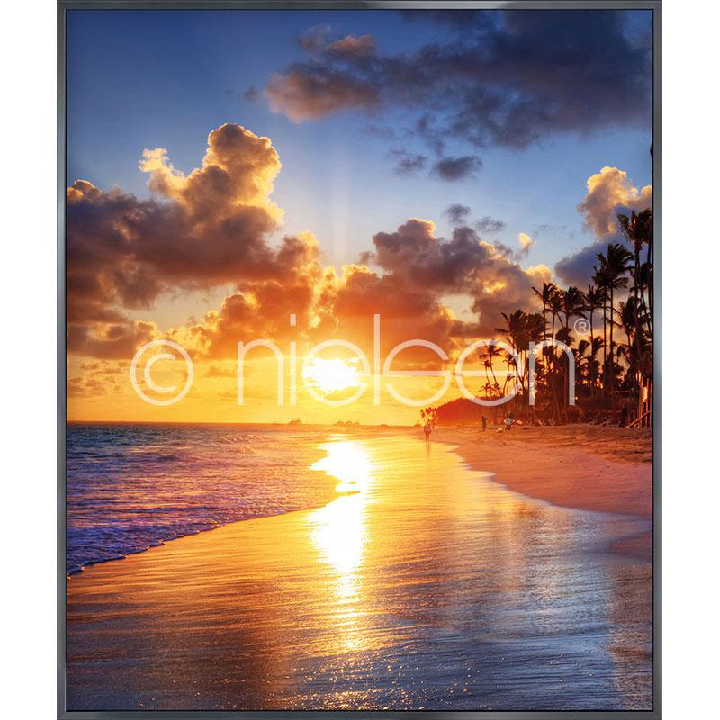 """Indrammet billede """"Sunset Beach"""" med aluramme Alpha"""