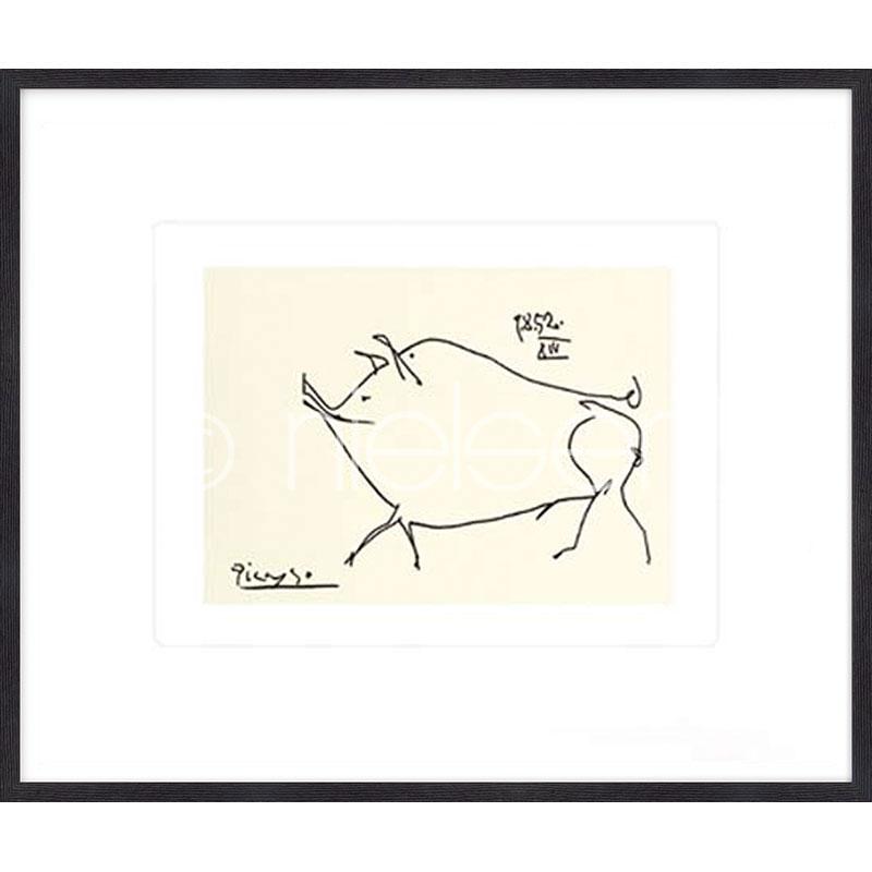 """Indrammet billede """"Le petit cochon Picasso"""" med træramme Quadrum"""