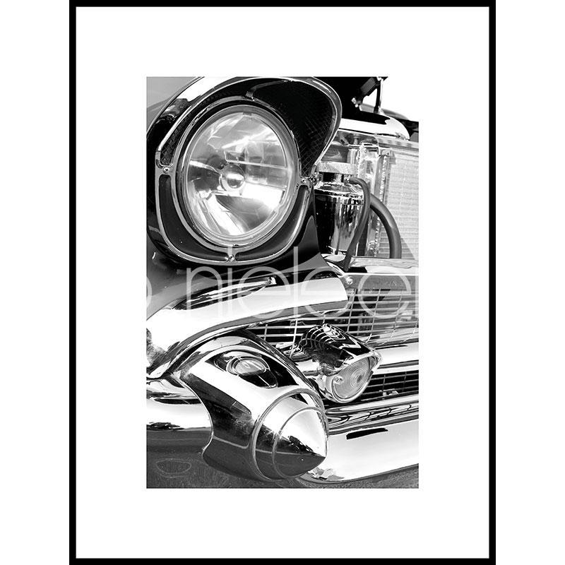"""Indrammet billede """"Car Chrome"""" med aluramme C2"""