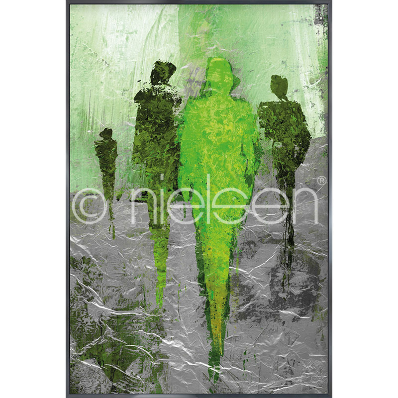 "Indrammet billede ""Abstract Figures Green"" med aluramme Alpha"