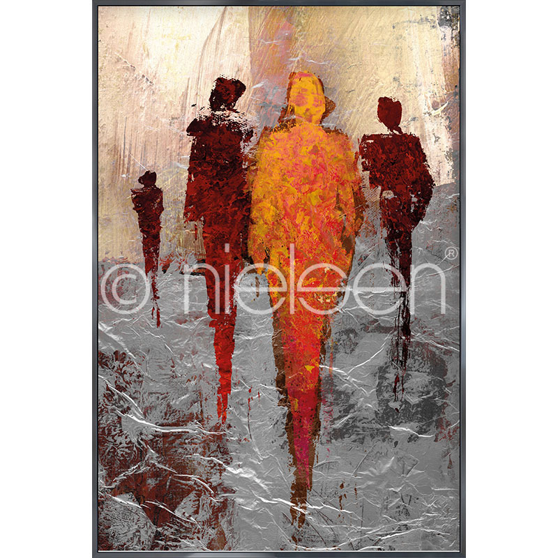 """Indrammet billede """"Abstract Figures Red"""" med aluramme Alpha"""