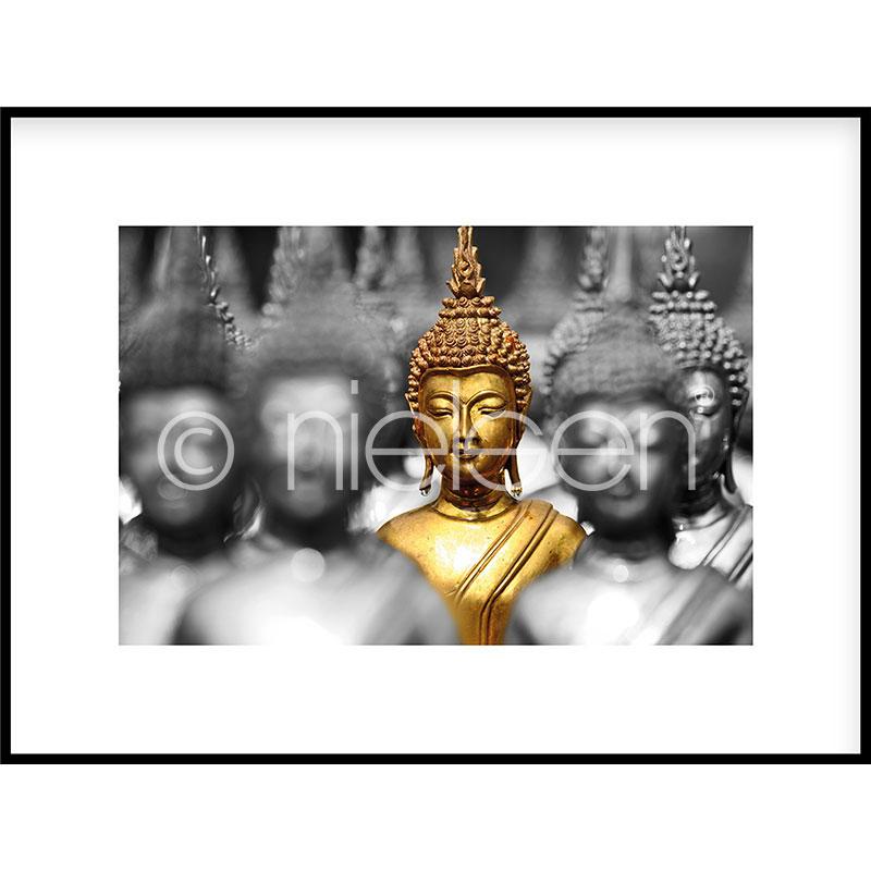 """Indrammet billede """"Buddha in gold"""" med aluramme C2"""