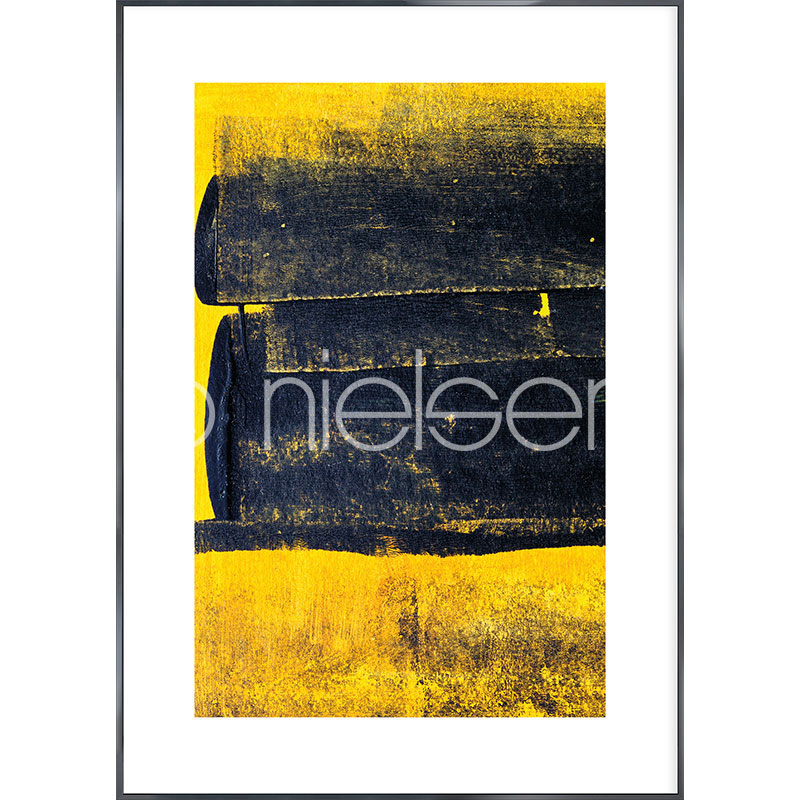 "Indrammet billede ""Abstract Yellow"" med aluramme Alpha"