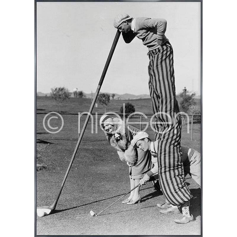 """Indrammet billede """"Golfer"""" med aluramme Alpha"""
