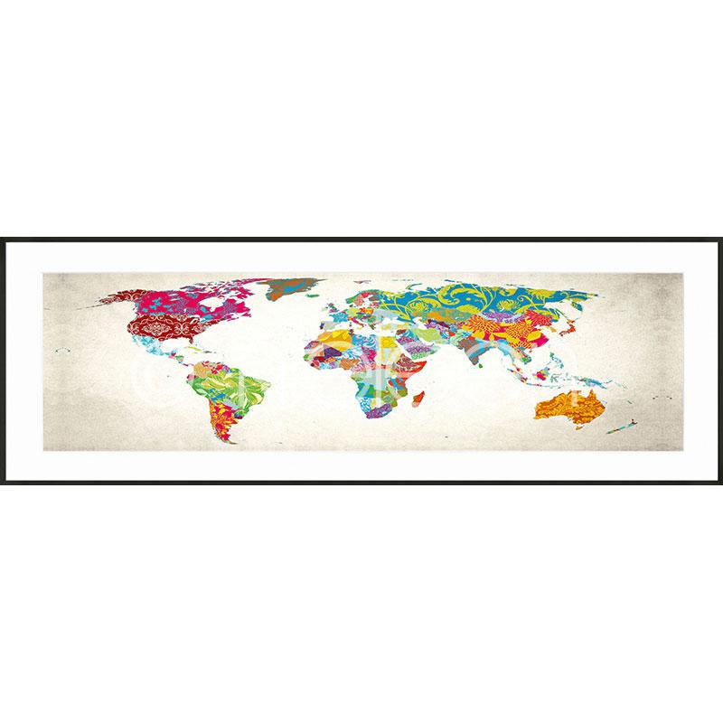 """Indrammet billede """"World Map"""" med aluramme C2"""