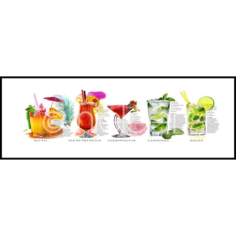 """Indrammet billede """"Cocktails"""" med aluramme C2"""